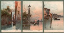 Collectable  3 Old postcards Venice Italy beautiful art  #371